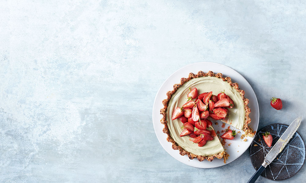 Matcha & Lime Pie With Macerated Strawberries