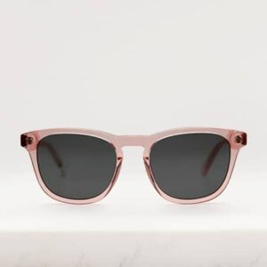 Eco sunglasses frame in crystal pink bio-acetate with grey polarised lenses