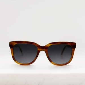 Pala eco sunglasses unisex frame in light brown stripe bio-acetate with grey polarised lenses