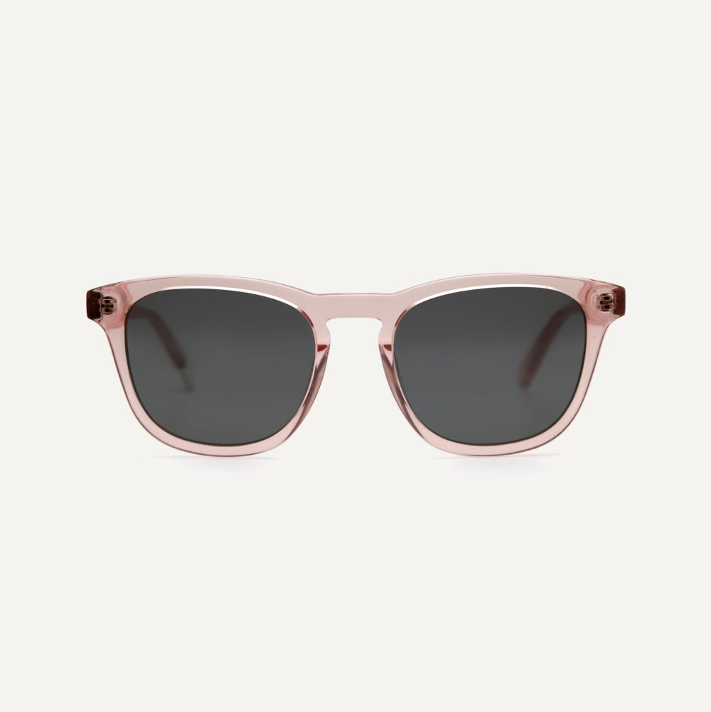 Pala transparent pink polarised sunglasses with grey lens