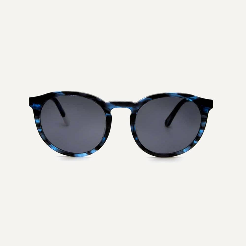 round blue acetate sunglasses front view