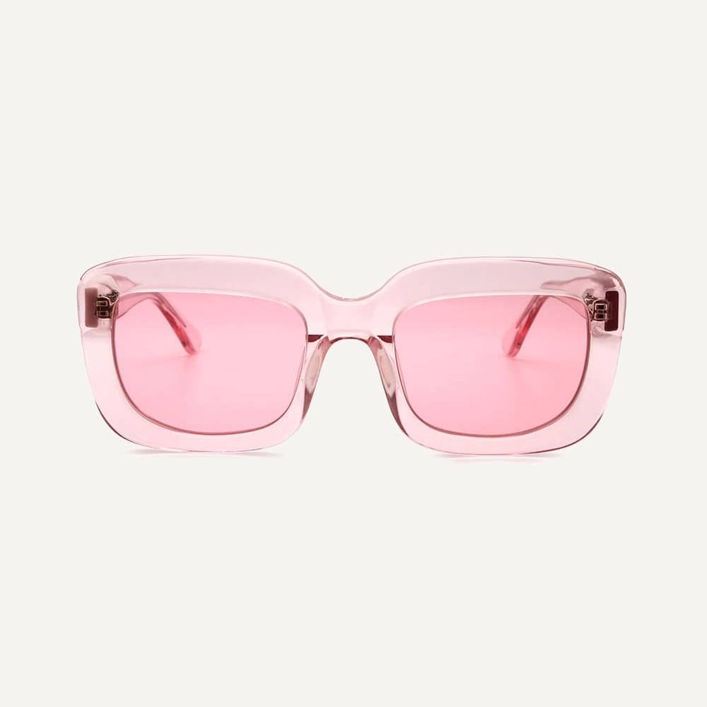Pala square pink sunglasses frame with pink lenses