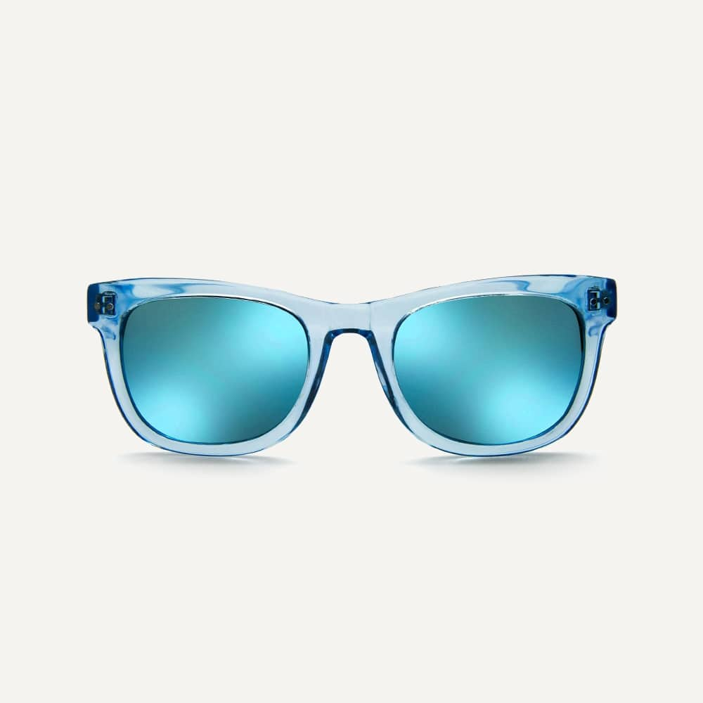 blue wayfarer sunglasses front view