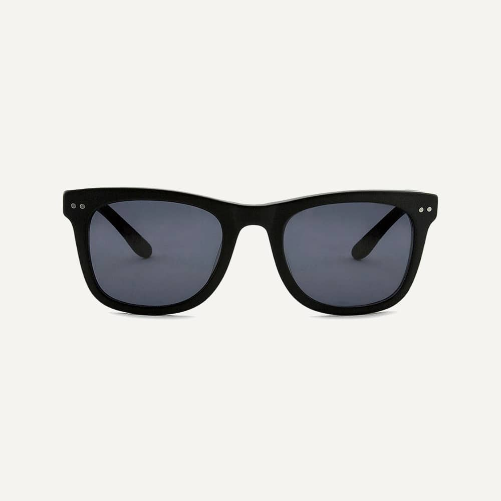 black wayfarer sunglasses front view
