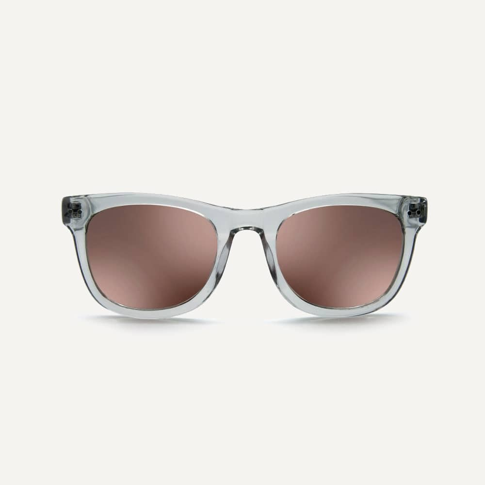 clear grey sunglasses with mirror lenses