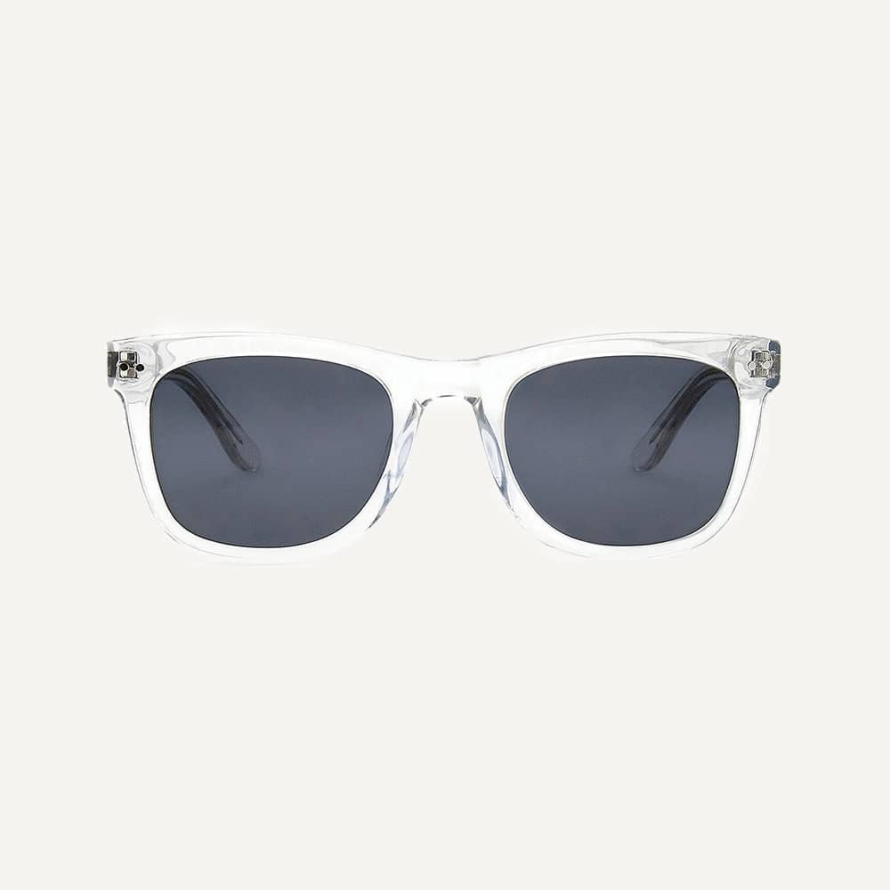 clear frame wayfarer sunglasses front view