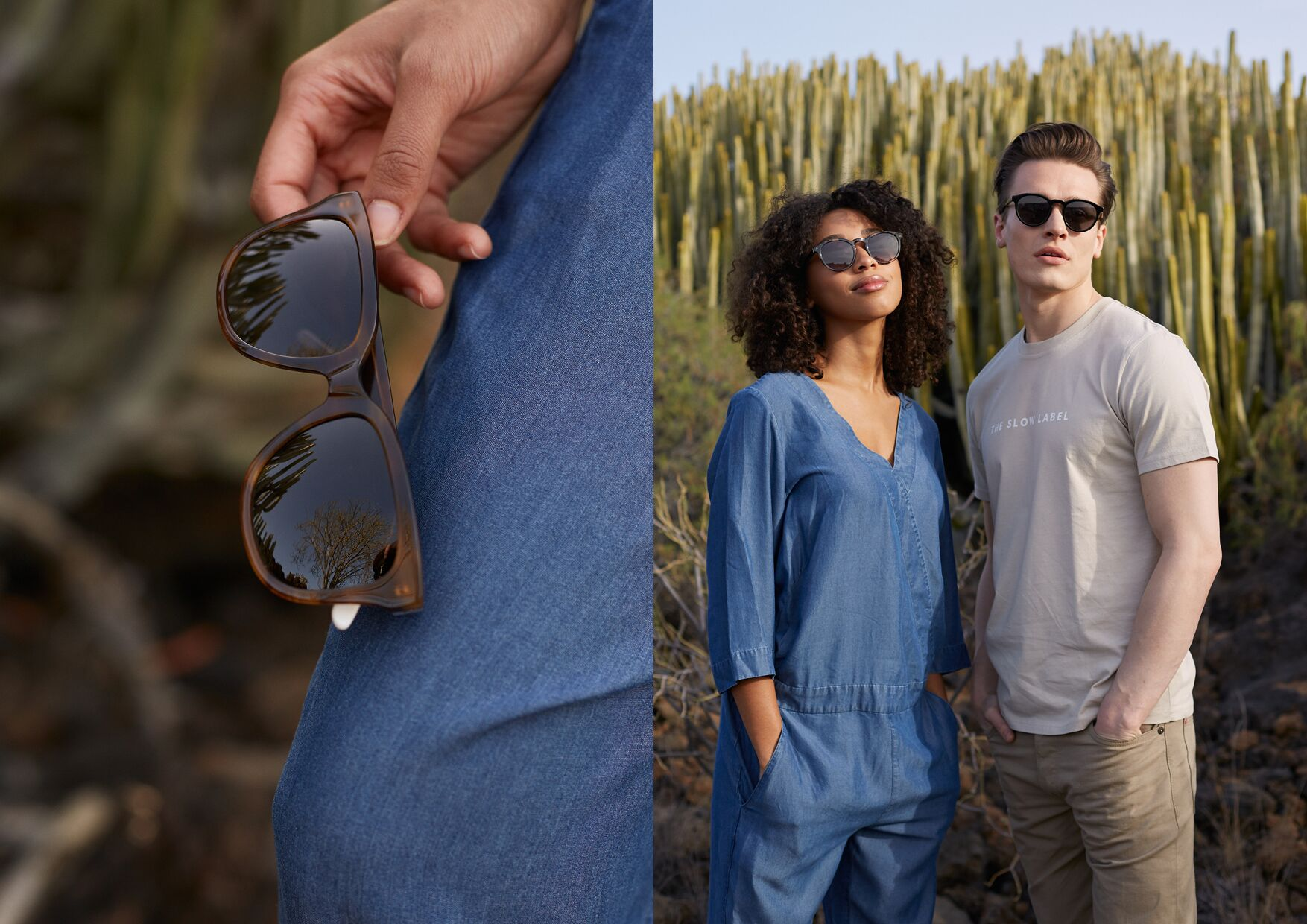 Male and female wearing sustainable sunglasses by Pala