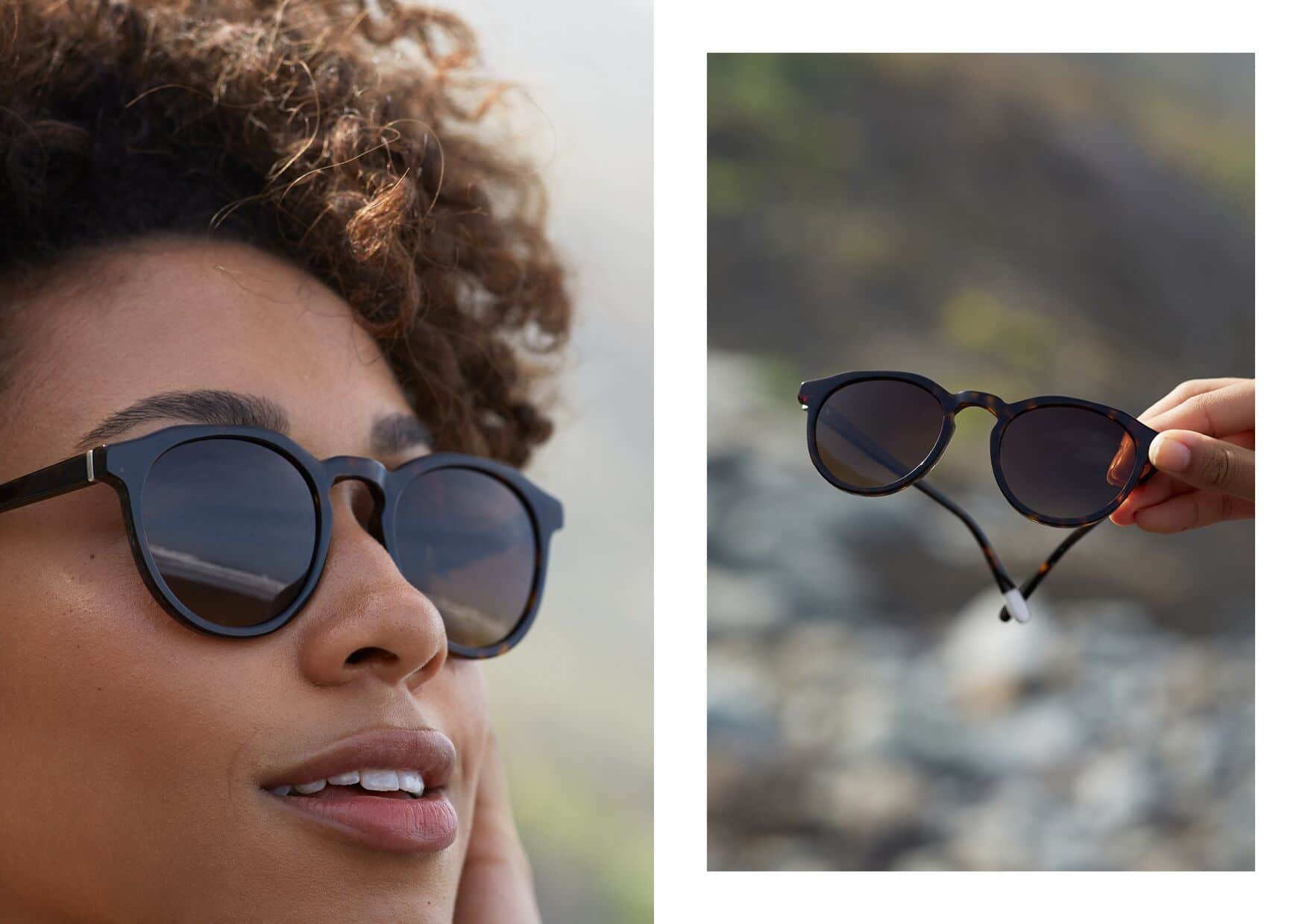 Woman wearing Pala eco sunglasses outdoors