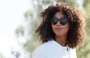 Ethical sunglasses polarised worn by woman