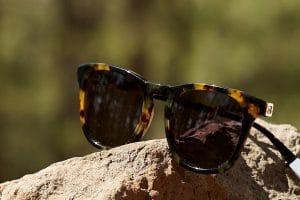 Pala Nyota wayfarer sunglasses from in brown tortoiseshell bio-acetate on a rock