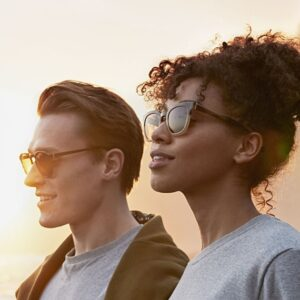 sustainable sunglasses polarised worn by men and women outdoors