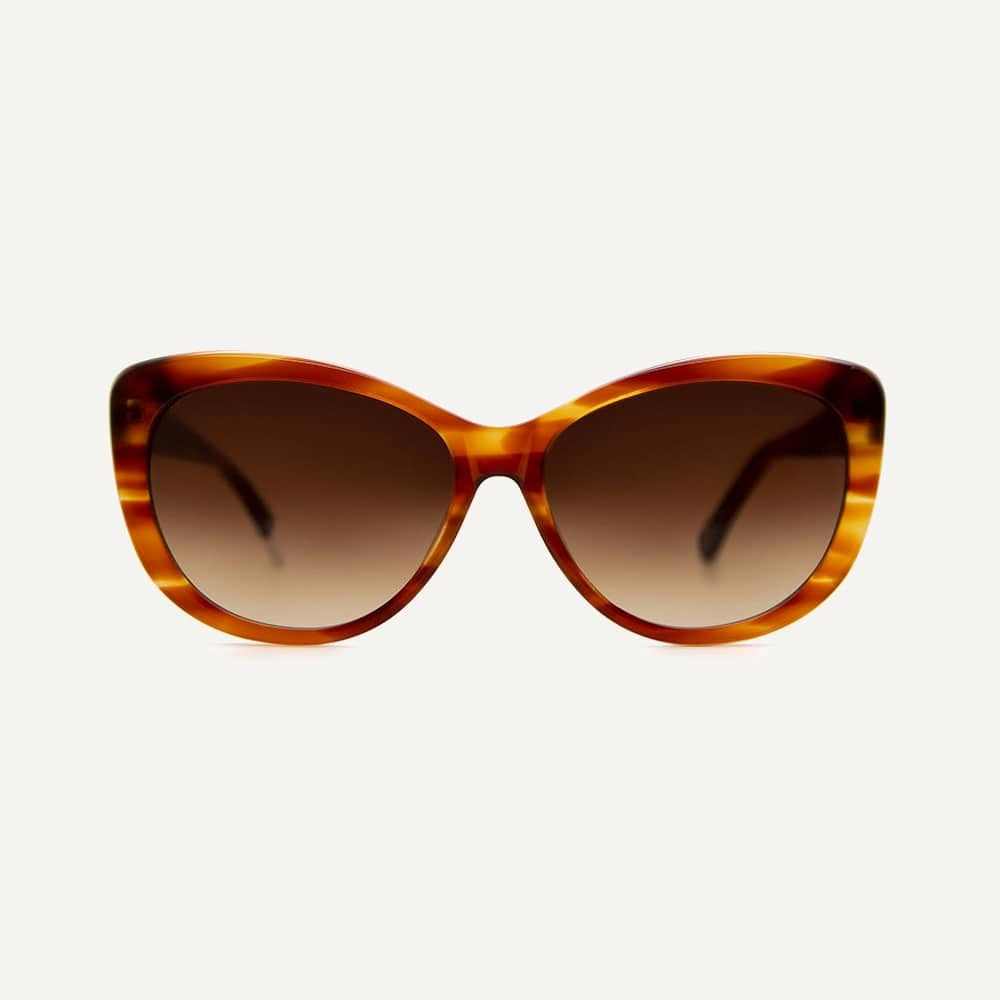 Brown cateye bio-actetate sustainable sunglasses