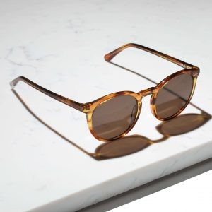 round brown actetate sustainable sunglasses