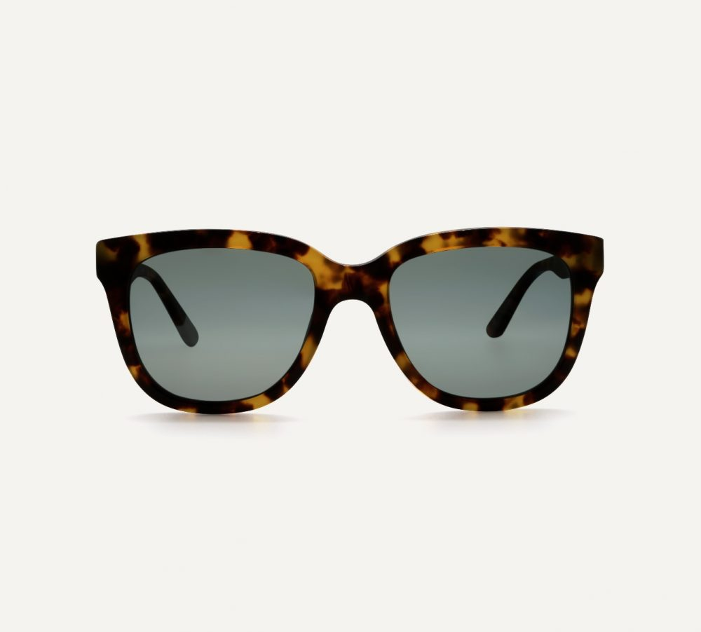 Pala square tortoiseshell sunglasses frame with polarised lenses front view