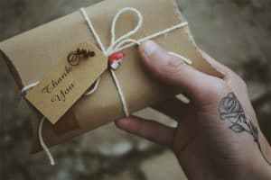 hand holding an eco gift