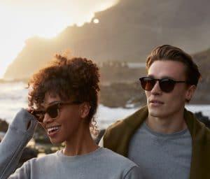 man woman wearing eco sunglasses from pala