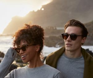 man and women wearing eco sunglasses from Pala