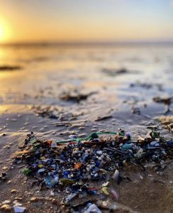microplastic pollution on the beach