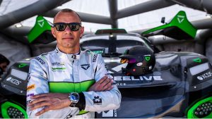 Veloce team driver wearing Pala sustainable sunglasses